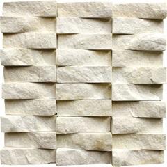 Mosaico em Pedra Natural Polido Travertino Pirâmide 30x30cm - Villas Deccor
