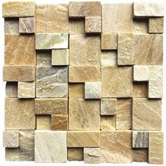 Mosaico em Pedra Natural Quadro Diverse Amarelo Small 30x30cm - Villas Deccor