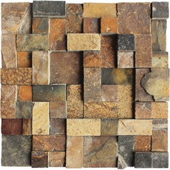 Mosaico em Pedra Natural Quadro Diverse Ferro Small 30x30cm - Villas Deccor