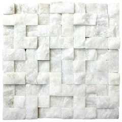 Mosaico em Pedra Natural Rústico Mármore Branco 30x30cm - Villas Deccor