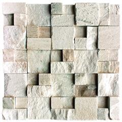 Mosaico em Pedra Natural Rústico Mármore Diverse Branco 30x30cm - Villas Deccor