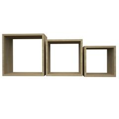 Nicho em Madeira Quadrado com 3 Peças Branco - Muve Design