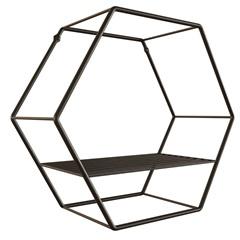 Nicho Hexagonal em Aço 30cm Preto - Zamar