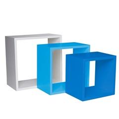 Nicho Trio 35cm Branco, Azul Claro E Azul Escuro  - Decorprat