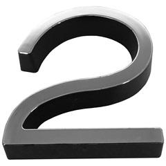 Número 2 Plástico 8cm Preto Cromado - Fixtil