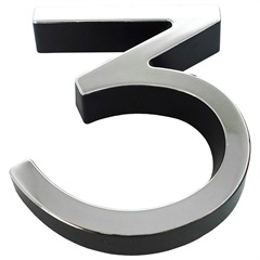 Número 3 Plástico 8cm Preto Cromado - Fixtil