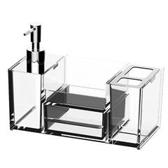Organizador para Pia de Banheiro Quadrata 16,4x21,8cm Transparente - Coza
