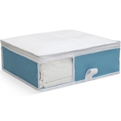 Organizador para Roupa de Cama com Visor 30x36x10cm Acqua Verde - Boxgraphia
