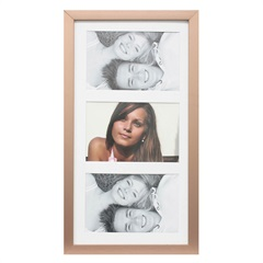 Painel Insta para 3 Fotos com Paspatur 18x38cm Cobre - Kapos
