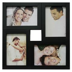Painel Multifotos para 4 Fotos 29,5x29,5cm Preto - Kapos