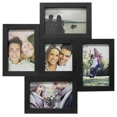 Painel Multifotos para 5 Fotos 37x37cm Preto - Kapos