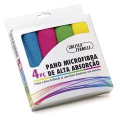 Pano em Microfibra de Alta Absorção Colorido com 4 Peças - Jolitex
