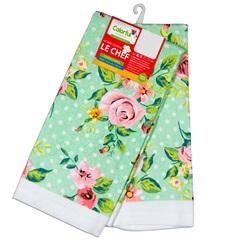 Pano para Copa Floral Rosa E Verde 63,5x38cm com 2 Peças - Colorful