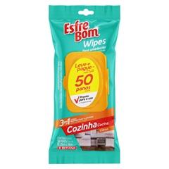 Pano Umedecido Esfrebom Wipes Cozinha 3 em 1 com 50 Unidades - Bettanin