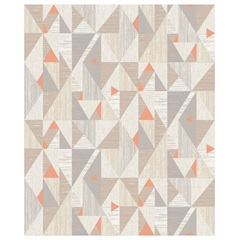 Papel de Parede Colorful Decor Triângulos Bege E Laranja 53cm com 10 Metros - Colorful