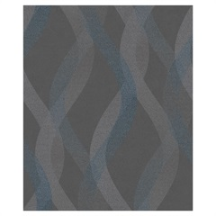 Papel de Parede Colorful Estilo Ondas Azul E Grafite 53cm com 10 Metros - Colorful