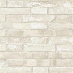 Papel de Parede Estilo Natural Tijolo Bege E Branco 0.53x10m - Colorful