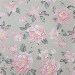 Papel de Parede Floral 52cm com 10 Metros Rosa E Bege - Casa Etna