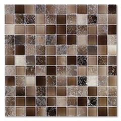Pastilha de Vidro Color 29,5x29,5cm Marrom Esfumado - Glassline