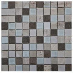 Pastilha em Porcelanato E Vidro Mosaico Vp6142 Bege E Marrom 31,5x31,5cm - Anticatto