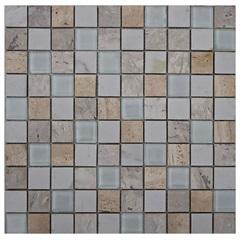 Pastilha em Porcelanato E Vidro Mosaico Vp6152 Branca E Bege 31,5x31,5cm - Anticatto