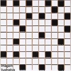 Pastilha em Porcelanato Esmaltada Pl8150 Branco E Preto 30,3x30,3cm - Jatobá
