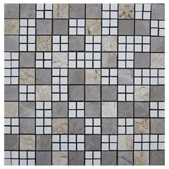 Pastilha em Porcelanato Mosaico Cc7018 Bege E Cinza 31,5x31,5cm - Anticatto