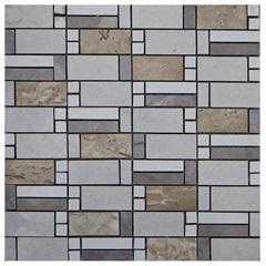 Pastilha em Porcelanato Mosaico Cc7028 Bege E Marrom 31,5x31,5cm - Anticatto