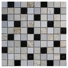 Pastilha em Porcelanato Mosaico Vp6110 Bege E Preta 31,5x31,5cm - Anticatto