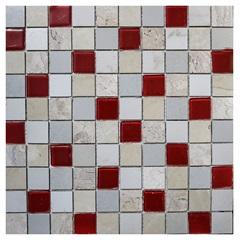 Pastilha em Porcelanato Mosaico Vp6115 Bege E Vermelha 31,5x31,5cm - Anticatto