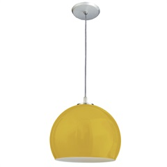 Pendente de Vidro Pequeno para 1 Lâmpada 1/2 Bola Amarelo - Pantoja & Carmona