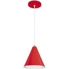 Pendente em Alumínio para 1 Lâmpada Cone Minas Gerais 18x18cm Vermelho