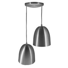 Pendente em Alumínio para 2 Lâmpadas Escovado - Lustres Jordano