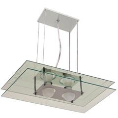Pendente em Alumínio Retangular para 2 Lâmpadas Espelhado - Pantoja & Carmona