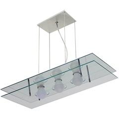 Pendente em Alumínio Retangular para 3 Lâmpadas Espelhado