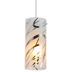 Pendente em Vidro E Metal para 1 Lâmpada Yani Leitoso - Taschibra