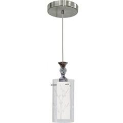 Pendente em Vidro para 1 Lâmpada 32,5x12cm Branco E Transparente - Taschibra