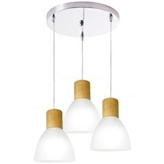 Pendente em Vidro para 3 Lâmpadas Anello Wood Branco
