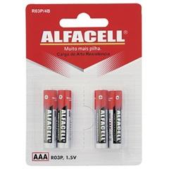 Pilha Palito Aaa 1,5v 4 Unidades  - Alfacell