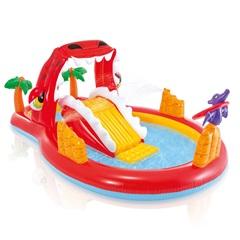 Piscina Playground Inflável Dino Feliz 169 Litros Vermelha - Intex