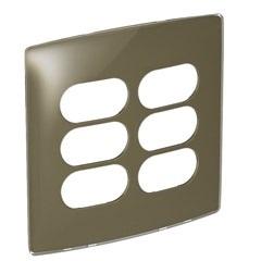 Placa 3+3 Postos Separados 4x4 Nereya Malt Gloss Ref. 663435 - Pial Legrand