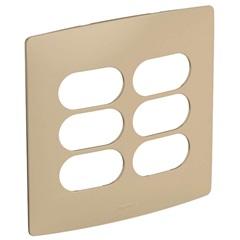 Placa 3 + 3 Postos Separados 4x4 Nereya Seda Gengibre - Pial Legrand