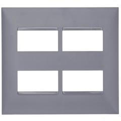 Placa 4x4 2+2 Postos Separados Plusmais Cinza - Pial Legrand