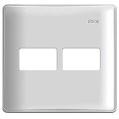 Placa 4x4 2 Postos Horizontais com Suporte Simon 19 Branca - Simon