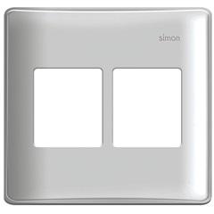 Placa 4x4 4 Postos Horizontais com Suporte Simon 19 Branca - Simon