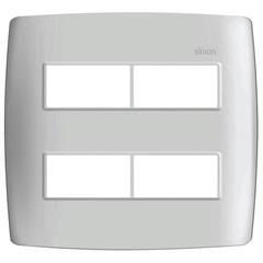 Placa 4x4 4 Postos Separados com Suporte Simon 30 Branca - Simon