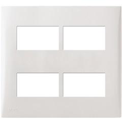 Placa com Suporte 4x4 4 Módulos Separados Imperia Branca - Iriel