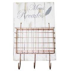 Placa Decorativa com Suporte para Cartas Meus Recados 44x27cm Branca E Rose - Império Decore