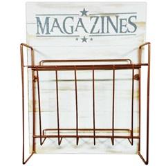 Placa Decorativa com Suporte para Revista Magazines 41x30cm Branca E Rose - Império Decore
