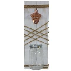 Placa Decorativa em Abridor de Garrafa 22x40cm Cinza - Império Decore
